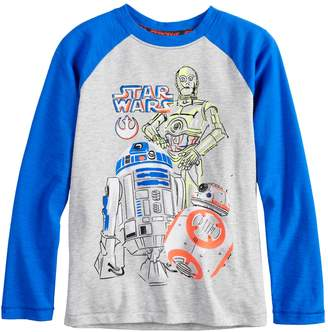Star Wars A Collection For Kohls Boys 4-8 a Collection for Kohl's C-3P0, R2D2 & BB-8 Raglan Tee