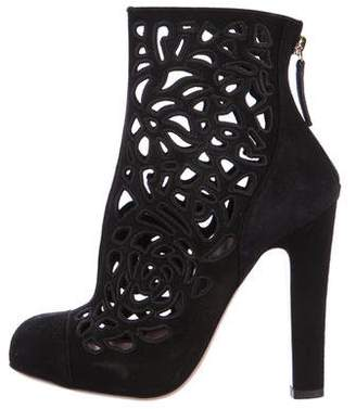 Valentino Suede Laser Cut Ankle Boots
