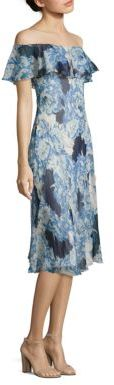 Polo Ralph Lauren Off-The-Shoulder Silk Dress $398 thestylecure.com