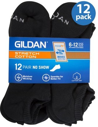 Gildan Men's Performance Cotton moveFX No-Show Socks 12-Pack