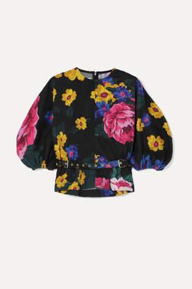 Marques Almeida Marques' Almeida - Belted Floral-print Cotton-poplin Blouse - Black