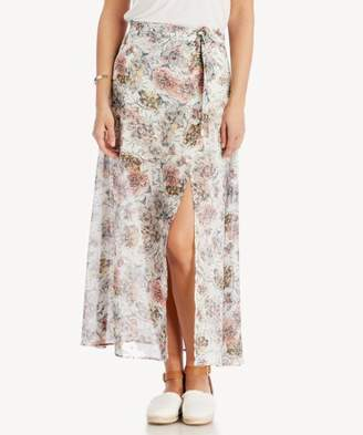 Sole Society Printed Maxi Skirt With High Side Slit