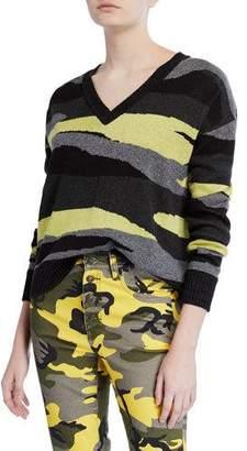 Pam & Gela Slouchy Camo-Print V-Neck Sweater