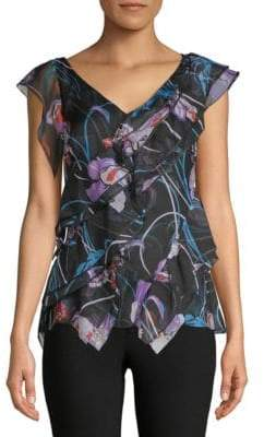Emilio Pucci Ruffled Cap-Sleeve Silk Blouse