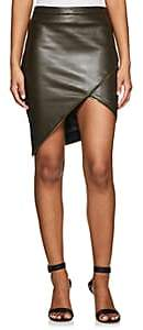 Mason by Michelle Mason WOMEN'S EMBELLISHED LEATHER MINISKIRT-OLIVE SIZE 2