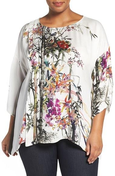 CitronPlus Size Women's Citron Colorblock Floral Print Silk Tunic