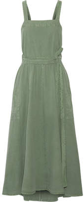 The Great The Apron Cotton-canvas Midi Dress - Army green
