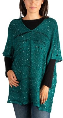 24seven Comfort Apparel Women's Sparkly Poncho Dolman Sheer Sweater Top
