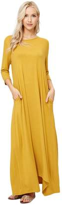 Annabelle Women's 3/4 Sleeve Casual Loose Fit Maxi Dresses with Side Pockets 3X-Large D5212X