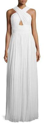 Michael Kors Cross-Front Cutout Gown, Optic White $3,695 thestylecure.com