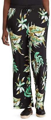 Lauren Ralph Lauren Plus Plus Palm Print Wide-Leg Pants