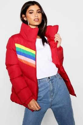 boohoo Rainbow Puffer Jacket
