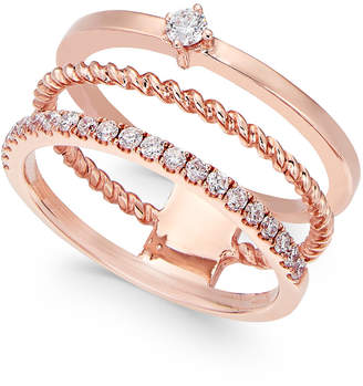 Macy's Diamond Three-Row Stackable Ring (1/4 ct. t.w.) in 14k Rose Gold