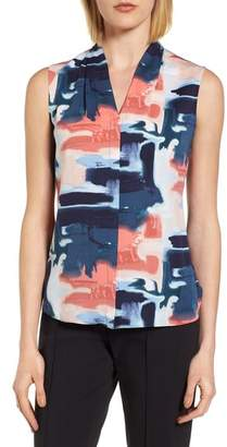 Blend of America Emerson Rose Abstract Print Silk Blouse