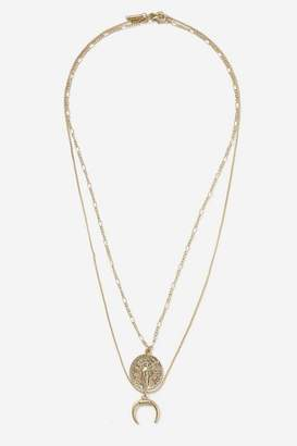 Topshop **Coin and Horn Two Row Necklace