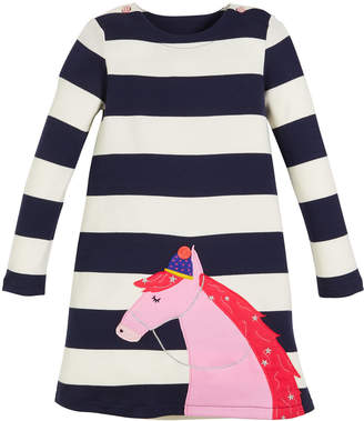 Joules Kaye Striped Long-Sleeve Dress w/ Horse Applique, Size 2-6