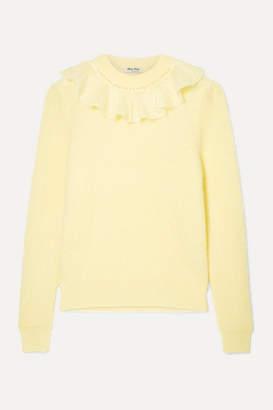 Miu Miu Ruffled Mohair-blend Sweater - Yellow