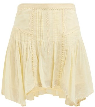 Etoile Isabel Marant Akala Lace Trimmed Cotton Mini Skirt - Womens - Light Yellow