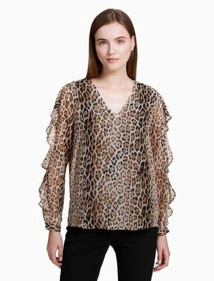 Calvin Klein animal print v-neck ruffle sleeve blouse