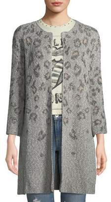 Cupcakes And Cashmere Kline Leopard-Print Open-Front Cardigan