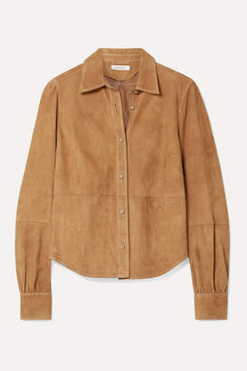 Frame Paneled Suede Shirt - Tan