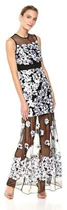 Nicole Miller Women's Hibiscus Canopy Embroidery Gown, Black/White
