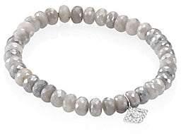 Sydney Evan Women's Small Bezel Eye Diamond & Grey Silverite Beaded Bracelet