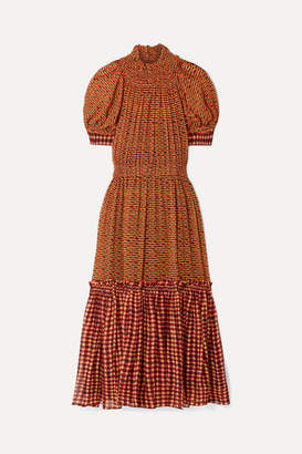 Proenza Schouler Tiered Printed Silk-chiffon Maxi Dress - Orange