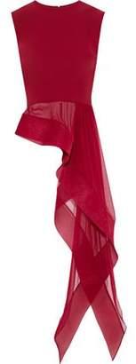 Reem Acra Asymmetric Voile-Paneled Silk Top