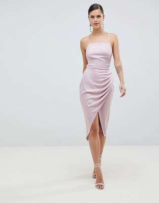 Asos DESIGN Satin Ruched Side Midi Dress With Strappy Back