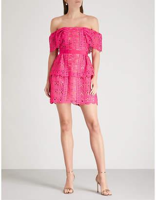 Self-Portrait Off-the-shoulder guipure-lace dress