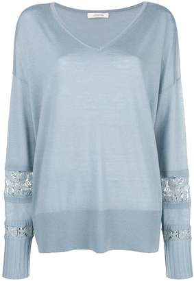 Schumacher Dorothee floral lace panel sweater