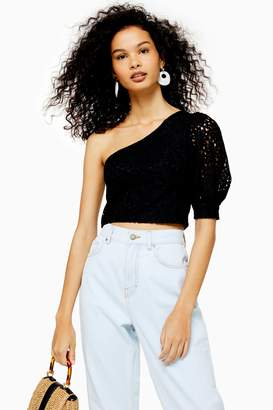 Topshop Womens Lace One Shoulder Puff Sleeve Top - Black
