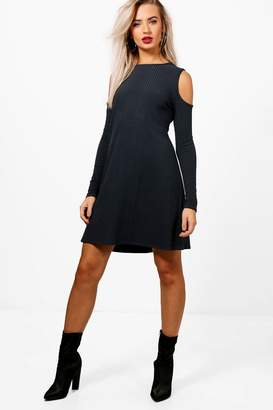 boohoo Cold Shoulder Soft Knit Rib Swing Dress