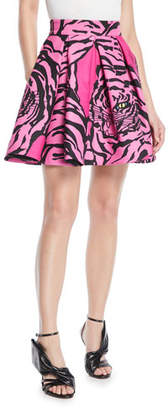 Valentino Panther-Print Flared Crepe Couture Mini Skirt