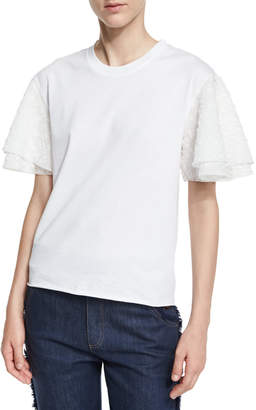 See by Chloe Boxy Cropped Jersey Tee with Embellished Sleeves, White