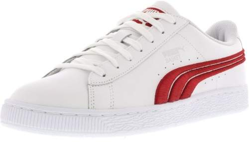Puma Men's Basket Classic Badge White / Barbados Cherry Ankle-High Leather Fashion Sneaker - 12M