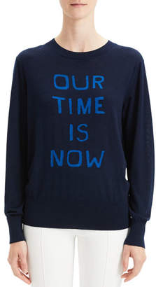 "Theory Our Time Is Now"" Silk-Cashmere Intarsia Pullover Sweater"