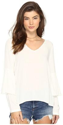 kensie - Soft Crepe Long Sleeve Top KS2K4253 Women's Clothing $75 thestylecure.com