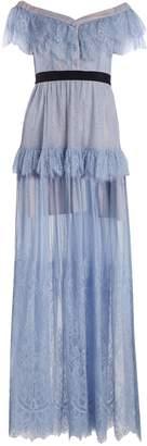Self-Portrait Off-the-shoulder ruffle-trimmed lace dress