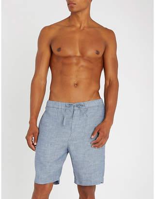 Frescobol Carioca Drawstring tailored linen and cotton-blend shorts