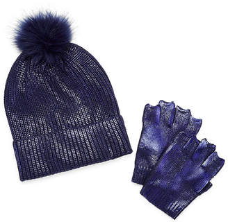 MIXIT Mixit Pom Beanie And Fingerless Glove 2-pc. Foiled Cold Weather Set