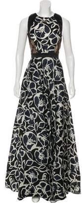 Carmen Marc Valvo Silk Floral Print Dress