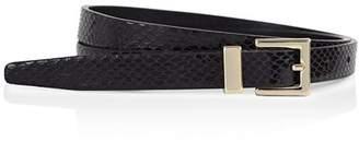 Reiss Blossom Snake-Embossed Leather Belt