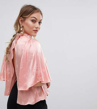 Asos DESIGN Petite High Neck Wrap Back Top In Jacquard