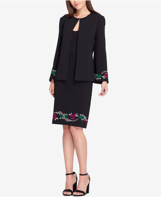 Tahari ASL Embroidered Open-Jacket Skirt Suit, Regular & Petite