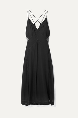 Rag & Bone Anais Tulle-paneled Silk-georgette Midi Dress - Black