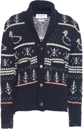 Thom Browne Fair Isle Shawl Collar Wool Cardigan