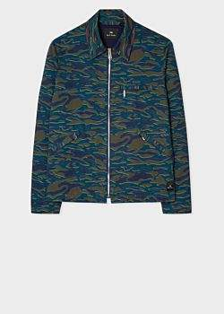 c8ad647678b03 Men's Blue And Green 'Shifted Camo' Print Work Jacket