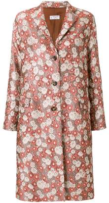 Alberto Biani floral jacquard single-breasted coat